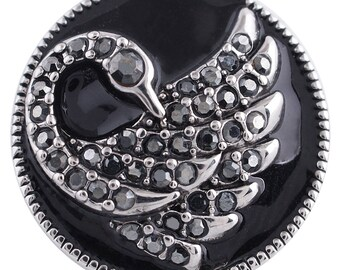 1 PC - 18MM Swan Animal Rhinestone Candy Snap Charm Silver Tone KC5285 Cc3423