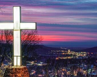Mt Sequoyah At Sunset - Fayetteville Arkansas - Cityscape - Large Cross - Wall Art - Home Decor