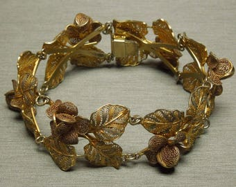 "Vintage Estate C1950 Tri Color Gold over 800 Silver Floral Filigree Flower Vine Leaf Bracelet 6.75"" Length x 1"" Wide"