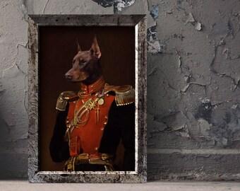 Custom pet portrait, custom dog portrait, regal pet portrait, Regal military, pet portrait canvas digital, pet lover gift, dog lover gift