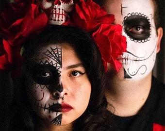Dia De Los Muertos Headpiece, Day of the Dead Crown, Red Romantic Crown, Floral Headpiece, romance crown, Costume Headpiece, skull crown