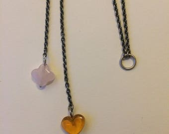 Necklace chain. heart and clover