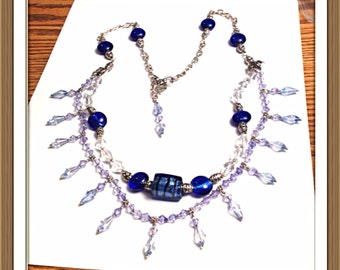 Handmade MWL blue and silver necklace with venetian lamp-work bead. 0303