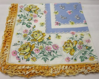 Vintage Hanky Blue Center Yellow Roses Variegated Yellow Crochet Edges Handkerchief Hankie