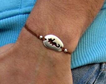 Seahorse cord bracelet, men's bracelet, Silver Pebble, bracelet for men, gift for him, mens jewelry, adjustable