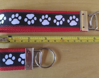 White Paws on Red  Key Fob