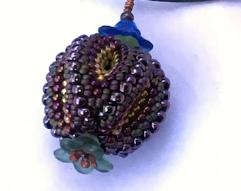 FINAL CLEARANCE Bead woven peyote stitch Purple and Green Temari Beaded Pendant by Hannah Rosner
