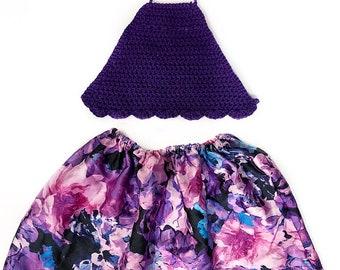 Crochet halter top and skirt set