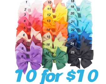 1.00 each Hair Bows / READY TO SHIP / Boutique Hair Bow Clips / You Pick The Colors / Set of 10 / Hair Clip