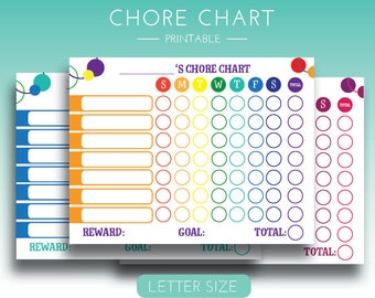 Chore Chart Printable, Chore Chart For Kids, Colorful Chore Chart, Weekly Chores, Instant Download Chore Chart, Kids Chores