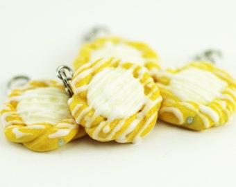 Food Jewelry, Pastry Charm, Cream Cheese Danish, Polymer Food, Miniature Food, Stitch Marker, Food Charm, Progress Keeper, Cheese Danish
