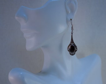 1980's Victorian Styled, Onyx and Sterling Dangle Earrings
