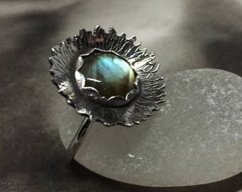 Labradorite and sterling silver sunflower ring, etched sterling silver, aqua flash, statement ring, gift for nature lovers, ring for women