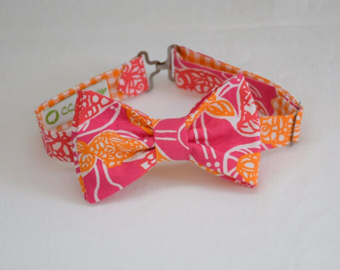 Boy's Lilly Bow Tie in pink, orange Beverly Hills Bubbly, father/son matching ties, wedding accessory, toddler bow tie, ring bearer bow tie,