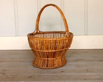 Vintage Bamboo Storage Basket Bathroom Kitchen Living Room Rattan Beach Retro Mid Century Boho Retro