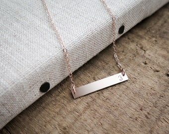 Rose Gold Bar Number Necklace - Simple, Dainty Hand Stamped Jewelry - by Betsy Farmer Designs