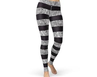 Zebra Print Striped Leggings