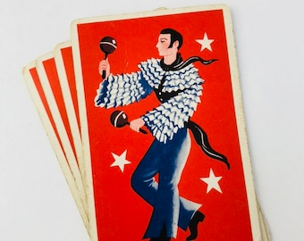 vintage playing cards four single cards retro mod 60s 70s male maracas dancer