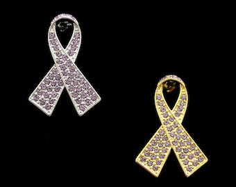Crystal Lavender Ribbon Bow Epilepsy All General Cancers Awareness Brooch Pin Silver Tone Gold Tone