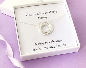 Personalised 60th Birthday Necklace - gift for 60th - 60th necklace - necklace with 6 rings- russian rings