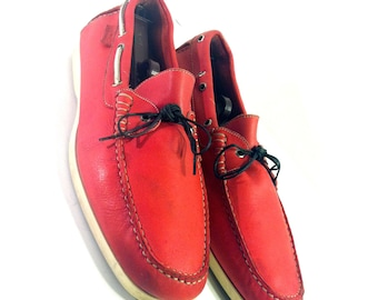 Men's Red Leather Boat Shoes 13 - Vintage  Facconable Italian Loafers 13 - Slip On Deck Shoes 13