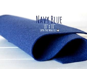 """100% Wool Felt, 100 Percent Wool Felt Large Sheet - 18"""" X 18"""" - Color Navy Blue-2200 - Pure Wool Felt - Navy Blue Wool Felt - Navy Color"""