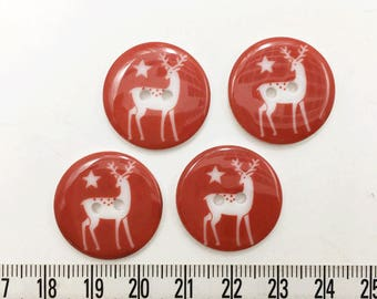 15 pcs of  Christmas Button 23 mm -   Red  Reindeer