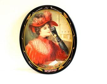 Vintage Coca Cola Oval Tray with Victorian Lady