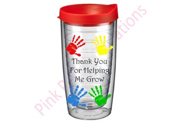 Thank You For Helping Me Grow Teacher Tumbler, Teacher Gift, Preschool Teacher, Daycare Teacher