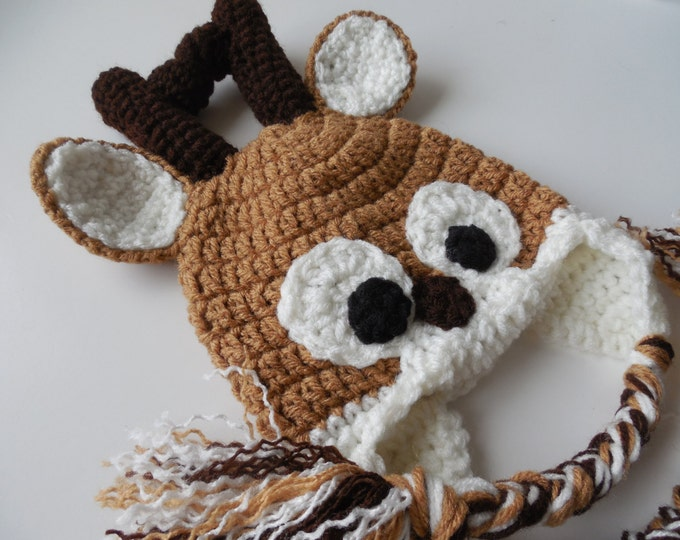 Reindeer Hat - Christmas Hat  - Baby to Adult Sizing - Handmade Crochet - Made to Order