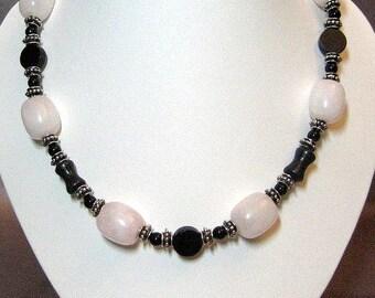 Rose Quartz, Blackstone and Silver Necklace