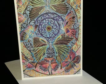 """4""""x 6"""" Butterfly (negative) Note card with envelope from the original Pen & Ink by Don Magistrelli"""