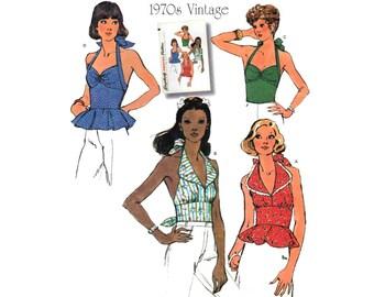 Women's Halter Top Pattern, Peplum, Midriff Misses Size 6, 8, 10, 12, 14 Uncut Vintage 1970's Style Simplicity 1365