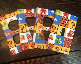 Super Mario Brothers Light Switch And Outlet Covers | Super Mario Bros - Set of 4 - Mario Room Decor - Nintendo Decor - Video Game Decor Art