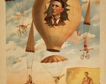 Bicycle Parachute act in mid-air Theatre Poster (Art Prints available in multiple sizes)