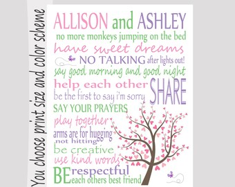 Personalized Bedroom Rules Subway Art- Kid's Bedroom Decor, Playroon rules