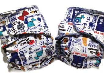 Dr Who Hybrid Fitted - Cloth Diaper - OS - Reusable - 10 to 35 lbs - Ready to Ship - One Size - Windpro - Serged - Turned and Top Stitch