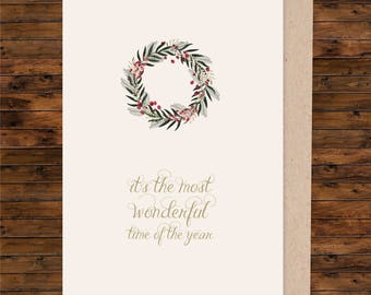 A5 christmas card, A5 greeting card, illustrated christmas card, blank christmas card, card and envelope