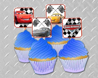 CARS 3 BIRTHDAY CUPCAKE Toppers Printable Digital Cars 3 Decorations Cars 3 Party Cars Theme Party Lightning McQueen Party Cars Decorations