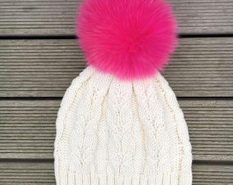 Hot Pink Pom-Pom Fox Fur Beanie Hat