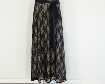 Black Lace Maxi Skirt. Lace Long Bridesmaid Skirt. Lace Evening Skirt. Floor Length Skirt.