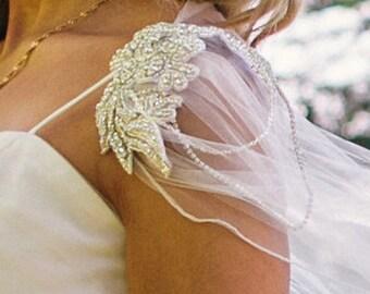 Bridal cape veil, wedding cape, diamante tulle cape, tulle cape shawl, bridal veil long, vintage veil, winter wedding veil, custom made veil