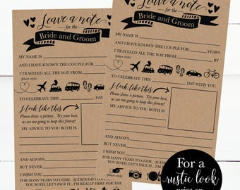 Printable Wedding Advice Cards Rustic, Advice For The Bride and Groom, Funny Advice For The Newlyweds Wedding Words of Wisdom Cards Template