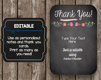 50% OFF SALE Thank You Cards - Chalkboard - Watercolor - Floral - Card - Editable - PDF - Instant Download
