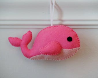 Pink Whale Ornament Felt Animal Ornament Nursery Ornament Pink Nursery Decor Christmas Ornament Baby Room Decor Nautical Theme Baby Girl