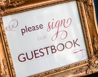 """Guestbook Sign, Dessert Bar Sign, Reception Signage, Red and Pink Wedding, Reserved Seating - """"Modern Swirl and Flourish"""" Guestbook Sign"""