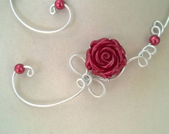 Open collar necklace, Wire jewelry, wire necklace, Burgundy  jewelry, Burgundy necklace,  flower necklace, Raspberry red necklace
