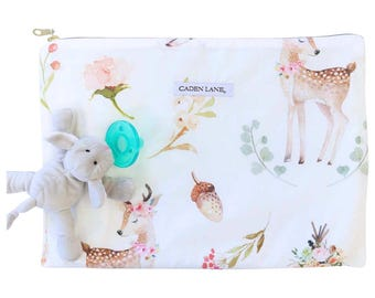 Boho Woodland Deer Zippered Wet Bag  | TeePee & Feathers Baby Girl Travel Bag | Cloth Diaper Zip Pouch |  Blakely's Water-Resistant Bag