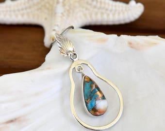 Spiny Oyster & Arizona Turquoise Pendant