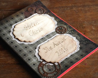 Steampunk personalised guestbook, handmade personalized gothic wedding guest book, Diary, Notebook, Scrapbook, pyrography